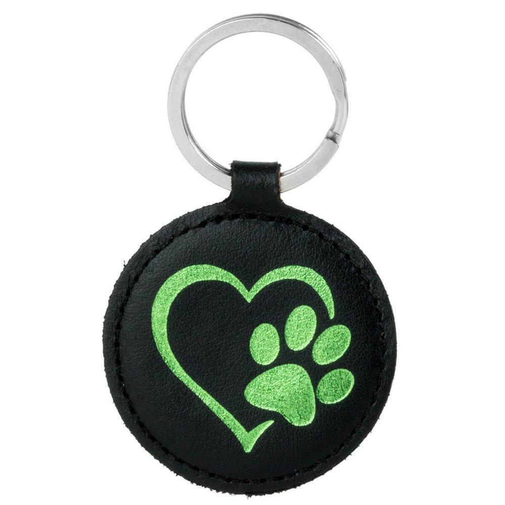 Keychain - Costa Black - Green Paw in Heart