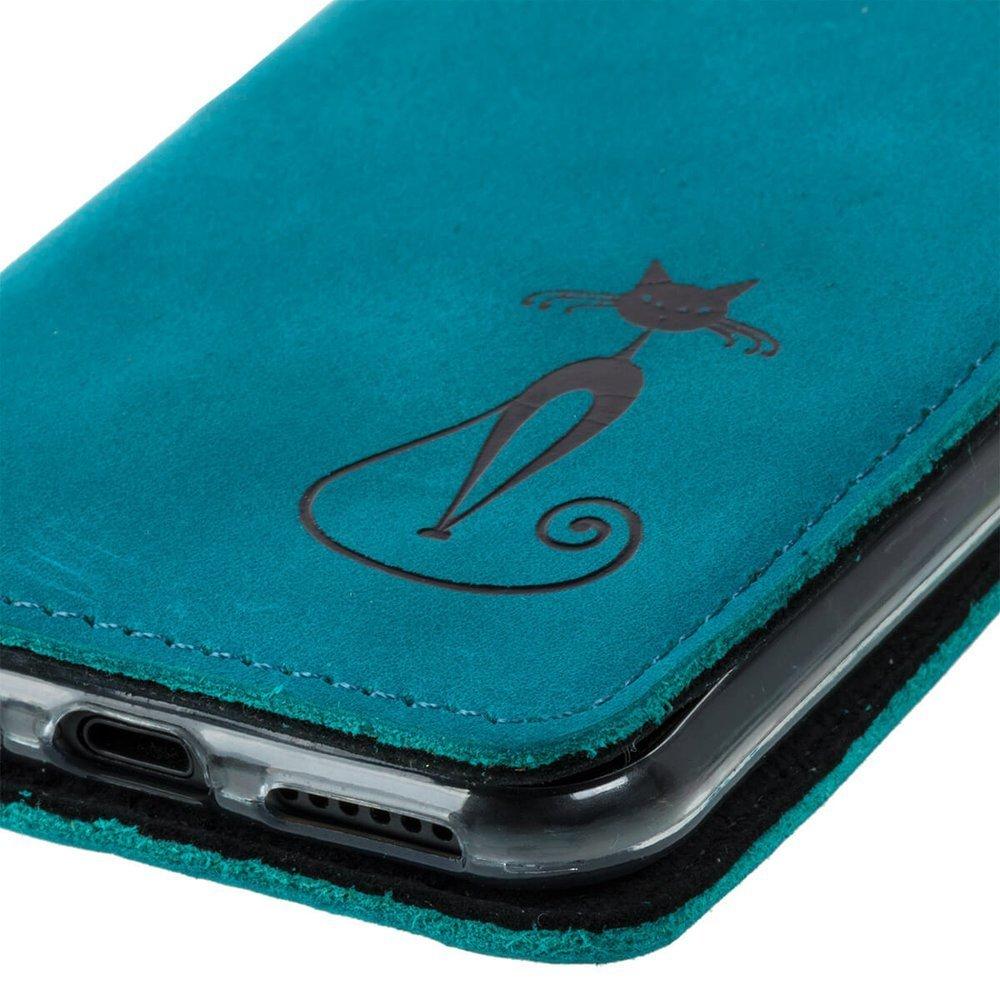 Smart magnet RFID - Nubuck Turquoise - Black Fabulous Cat