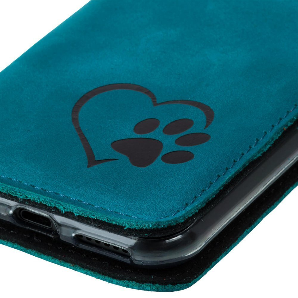 Smart magnet RFID - Nubuck Turquoise - Black Paw in Heart