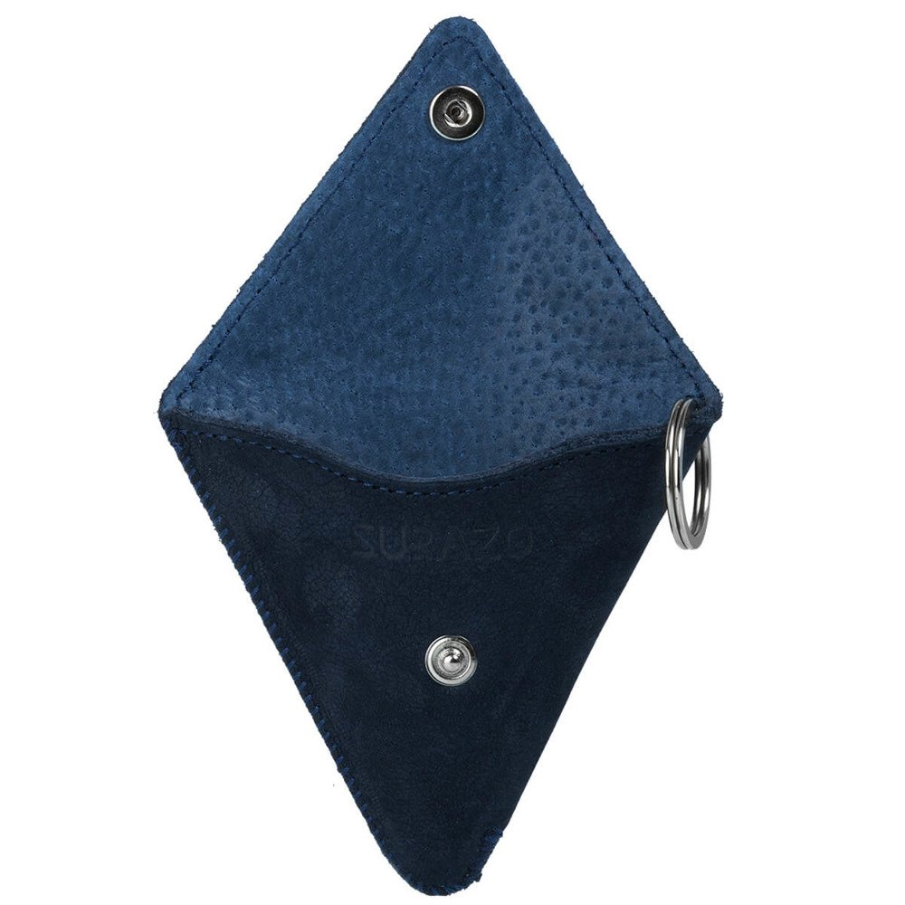 Traingle Coin Pouch - Nubuck Blue