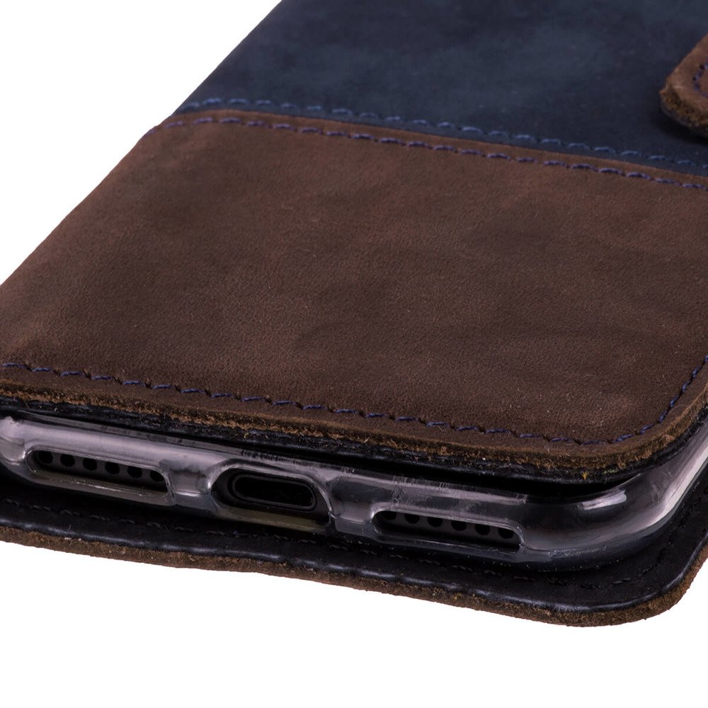 Wallet case Duo - Navy blue and Nut brown