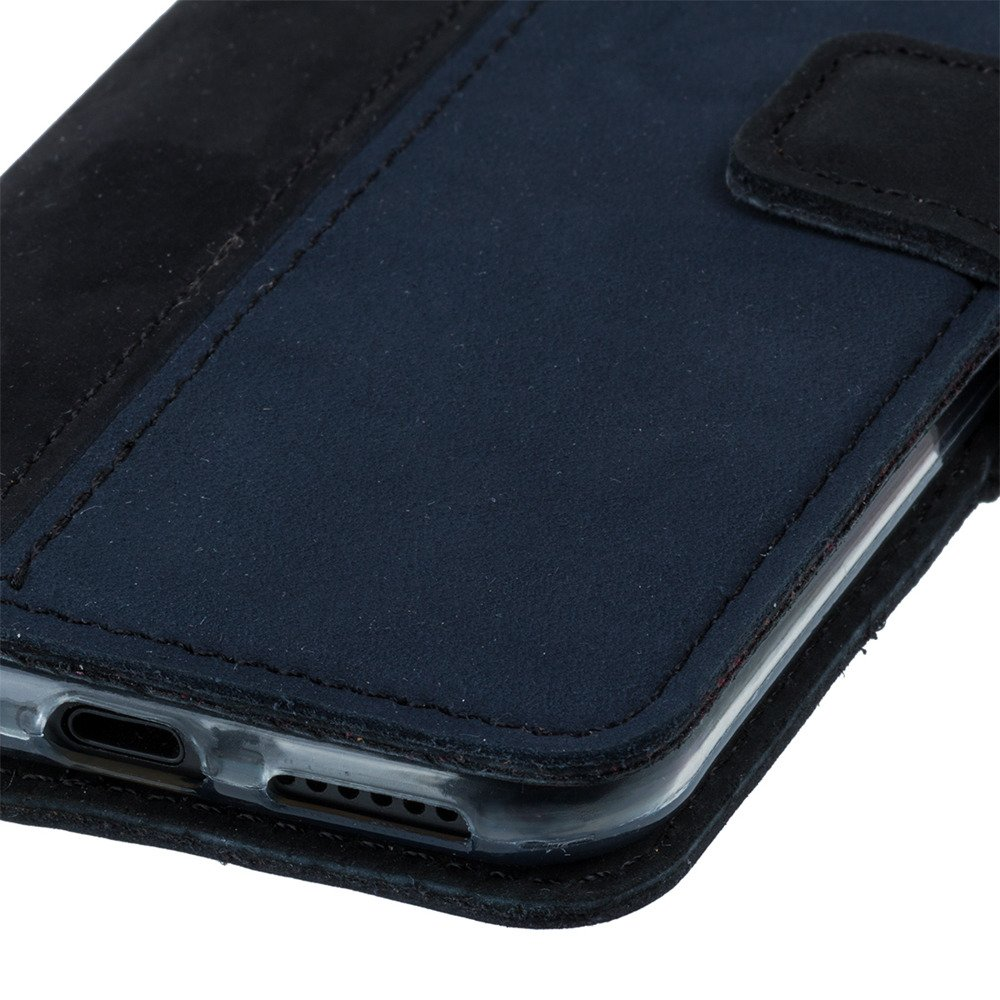 Wallet case - Nubuck Black and Navy blue