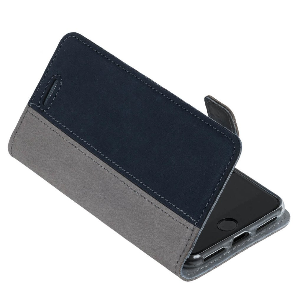 Wallet case - Nubuck Gray and Navy Blue