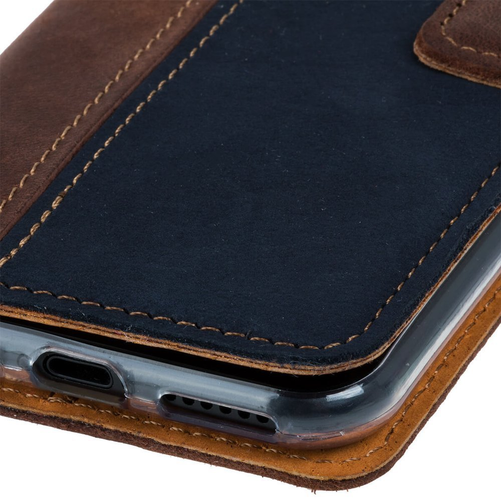 Wallet case - Nubuck Nut and Navy blue