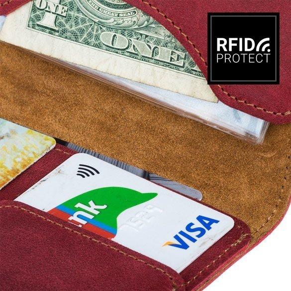 Slim Bifold Geldbörse RFID - Nubuk Rot