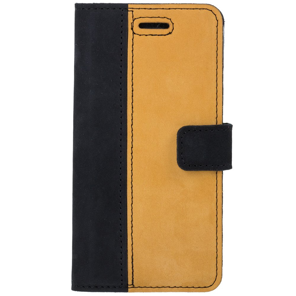Wallet case - Nubuk Schwarz und Camel