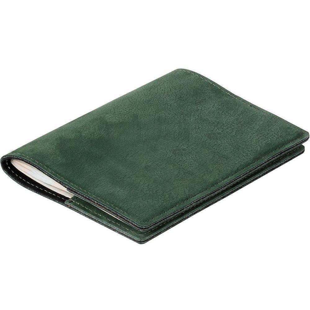Etui na paszport z miejscem na karty - Nubuk Zielony