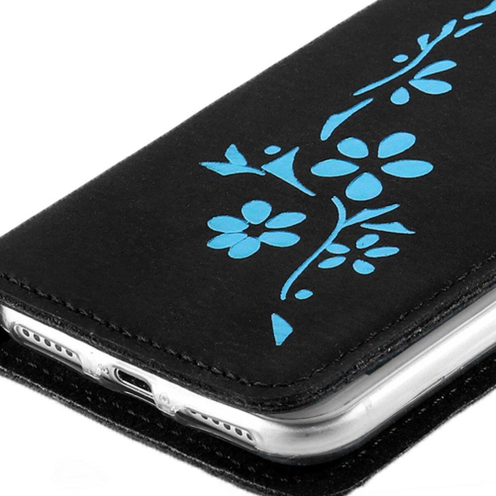 Smart Magnet RFID - Nubuk Czarny - Kwiaty turkusowe